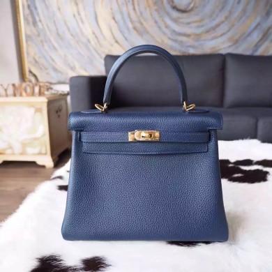 Imitation Hermes Kelly 25cm Togo Calfskin Bag Handstitched Gold Hardware, Blue Nuit 2Z RS09148