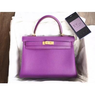 Imitation Hermes Kelly 32cm Togo Calfskin Bag Handstitched Gold Hardware, Anemone P9 RS18172
