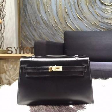 Imitation Hermes Mini Kelly Pochette 22cm Swift Calfskin Leather Gold Hardware, Noir RS03496