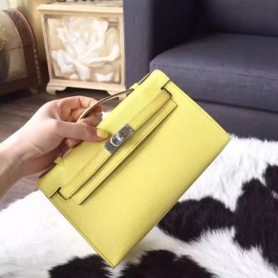 Luxury Hermes Mini Kelly Pochette 22cm Epsom Calfskin Leather Palladium Hardware Handstitched, Soufre C9 RS10880