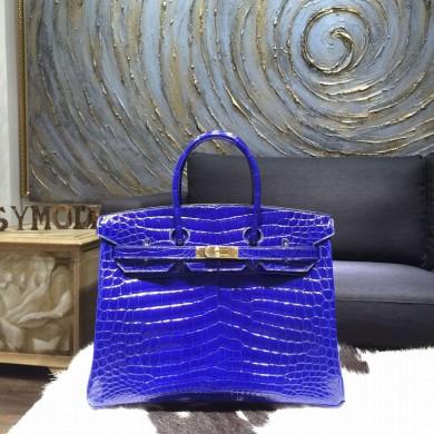 Luxury Hermes Shiny Alligator Birkin 30cm Bag Hand Stitched Gold Hardware Handstitched, Blue Electric 7T RS14245