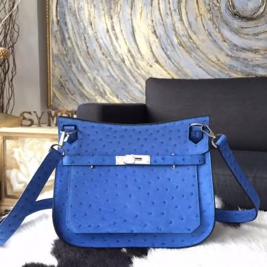 Luxury VIP ORDER Hermes Jypsiere 28cm Gypsy Bag Autruche Ostrich Palladium Hardware Handstitched, Mykonos RS05403