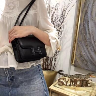 RARE Hermes Mini Constance 18cm Lizard Box Calfskin Palladium Hardware Handstitched, Noir CK89 RS21671