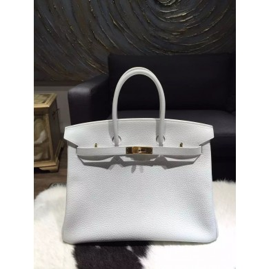 Replica Cheap Hermes Birkin 35cm Togo Calfskin Bag Handstitched Gold Hardware, Blanc RS04505