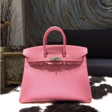 Replica Fashion Hermes Birkin 25cm/30cm Epsom Calfskin Bag Handstitched Palladium Hardware, Rose Confetti 1Q RS09466