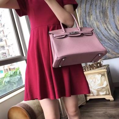 Replica Hermes Birkin 25cm Togo Calfskin Bag Handstitched Palladium Hardware, Glycine 4W RS17158