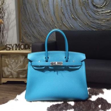 Replica Hermes Birkin 30cm Togo Calfskin Original Leather Bag Handstitched Palladium Hardware, Turquoise Blue 7B RS00983