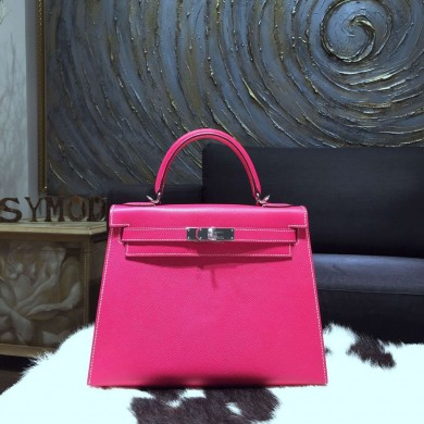 Replica Hermes Kelly 28cm Epsom Calfskin Sellier Rigide Bag Handstitched Palladium Hardware, Rose Tyrien E5 RS13064