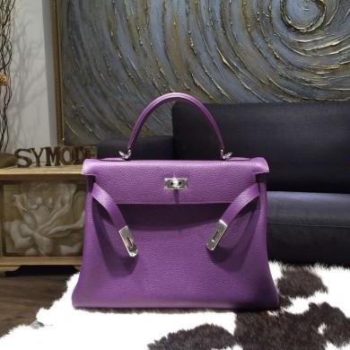 Replica Hermes Kelly 28cm Taurillon Clemence Bag Handstitched Palladium Hardware, Ultraviolet 5L RS21700