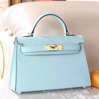 Replica Hermes Kelly Mini II Bag In Original leather 20cm Golden Hardware Bule Bag RS26221
