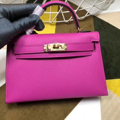 Replica Hermes Kelly Mini II In Original leather 20cm Golden Hardware Pink Bag RS26224