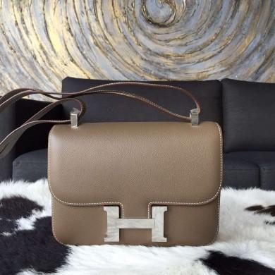 Top Hermes Constance 23cm Epsom Calfskin Original Leather Handstitched, Etoupe RS19769