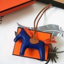 Luxury Hermes Rodeo Horse Bag Charm In Blue/Camarel/Orange Leather RS109214