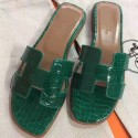 Hermes Green Crocodile Oran Sandals Womes's Shoes RS204220