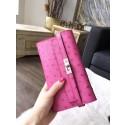 Best Hermes Kelly Wallet Autruche Ostrich Skin Handstitched, Fuschia Pink 5J RS07572