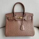 Copy Fashion Hermes Autruche Ostrich Birkin 30cm Bag Handstitched Gold Hardware Handstitched, Mousse Gray CK19 RS12388