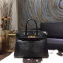 Copy Hermes Birkin 30cm Lizard Skin Original Leather Bag Handstitched Gold Hardware, Noir Black RS02780