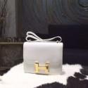 Copy Hermes Constance 18cm Epsom Calfskin Original Leather Handstitched Gold Hardware, Blanc RS18721