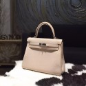 Copy Hermes Kelly 28cm Togo Calfskin Bag Handstitched Palladium Hardware, Argile 1F RS21870