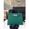Copy Hermes Kelly 32cm Epsom Calfskin Palladium Hardware Handstitched, Malachite RS20371