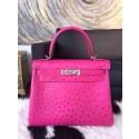 Fake Hermes Autruche Ostrich Souple Retourne Kelly 32cm Bag Handstitched Palladium Hardware, Fuschia Pink 5J RS05135