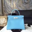 Fashion Hermes Kelly 28cm Epsom Calfskin Original Leather Bag Handstitched Palladium Hardware, Celeste 7N/Mykonos 7Q Interior RS17973