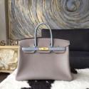 Hermes Bi-Color Birkin 30cm Taurillon Clemence Calfskin Bag Handstitched Gold Hardware, Bleu Lin Etain Grey RS19135