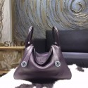 Hermes Bi-Color Lindy 30cm Taurillon Clemence Calfskin Bag Hand Stitched, Raisin CK59, Ultraviolet 5L RS03743