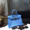 Hermes Birkin 30cm Epsom Calfskin Original Leather Bag Handstitched Gold Hardware, Blue Paradise 2T RS09826