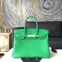 Hermes Birkin 30cm Togo Calfskin Original Leather Bag Handstitched Palladium Hardware, Bambou 1K RS11393