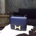 Hermes Constance 18cm Epsom Calfskin Original Leather Handstitched Gold Hardware, Blue Saphir 7K RS03010