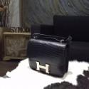 Hermes Constance 18cm Matte Alligator Crocodile Original Leather Fully Handstiched Palladium Hardware, Noir RS11198