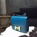 Hermes Constance 23cm Epsom Calfskin Original Leather Handstitched Gold Hardware, Blue Izmir 7W RS12872