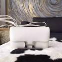 Hermes Constance Elan 23cm Epsom Calfskin Handstitched Palladium Hardware, White RS07810