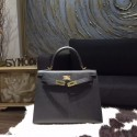Hermes Kelly 25cm Epsom Calfskin Bag Handstitched Gold Hardware, Noir Black RS16517