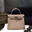 Hermes Kelly 25cm Taurillon Clemence Original Leather Bag Handstitched Palladium Hardware, Gris Tourterelle CK81 RS03731