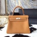 Hermes Kelly 25cm Togo Calfskin Bag Handstitched Palladium Hardware, Gold CK37 Contrast Stitching RS13214