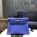 Hermes Kelly 28/32cm Togo Calfskin Original Leather Bag Hand Stitched , Blue Electric 7T RS03633