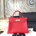 Hermes Kelly 28cm Epsom Calfskin Original Leather Bag Handstitched Gold Hardware, Rouge Casaque Q5/Blue Thalassa 7A Interior RS06866