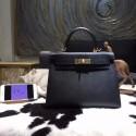 Hermes Kelly 28cm Epsom Calfskin Sellier Rigide Bag Handstitched Gold Hardware, Noir Black RS04346