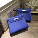 Hermes Kelly 28cm Taurillon Clemence Bag Handstitched Palladium/Gold Hardware, Blue Electric 7T RS14496