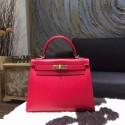 Hermes Kelly 28cm Tedelakt Calfskin Leather Bag Handstitched Gold Hardware, Ruby B5 RS16095
