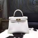 Hermes Kelly 28cm Togo Calfskin Bag Handstitched Gold Hardware, Blanc White RS17354