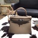 Hermes Kelly 28cm Togo Calfskin Bag Handstitched Palladium Hardware, Etoupe CK18 RS09641