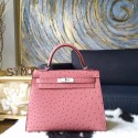 Hermes Kelly Autruche Ostrich 28cm Sellier Rigide Bag Handstitched Palladium Hardware, Terre Cuite CC94 RS00371