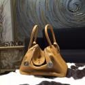 Hermes Lindy 26cm/30cm Taurillon Clemence Calfskin Bag Handstitched, Natural Sable CC21 RS20690