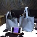 Hermes Picotin Lock Bag 18cm/22cm Taurillon Clemence Palladium Hardware Hand Stitched, Bleu Lin CKJ7 RS00734