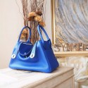High Quality Hermes Lindy 26/30cm Taurillon Clemence Calfskin Bag Handstitched, Blue Electric 7T RS10778