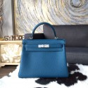 Hot Copy Hermes Kelly 28cm Togo Calfskin Bag Handstitched Palladium Hardware, Blue Izmir 7W RS02362