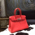 Hot Hermes Birkin 30cm Swift Calfskin Bag Handstitched Palladium Hardware, Rose Jaipur T5 RS03332